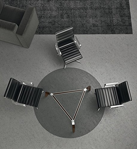 table réunion ronde avec plateau en verre trempé et pieds en bois