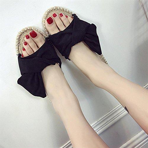 Scarpe piatte estive, Longra Donna Condensa della farfalla inferiore della canapa, pattino freddo femminile del piede Nero