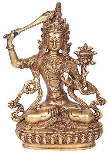 Manjushri-statue (Exotic India Manjushri-Statue, natürliches Messing, 8,2 x 16,5 x 21,6 cm)