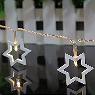 Allbusky Wood 10 Leds Cute Star Shapes Romantic LED String Light Festive Lights for Halloween Christmas Birthday Wedding Party Decorations Battery Powered Warm White (Star)