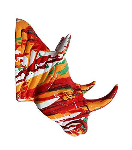 Meubletmoi Tête rhinocéros Multicolore Corne Orange - décoration Murale- Objet Design Moderne