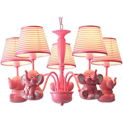 Iluminación de techo Candelabro de sala rosa para niños de dibujos animados...