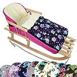 BambiniWelt Kombi-Angebot Holz-Schlitten mit Rückenlehne & Zugseil + universaler Winterfußsack (108cm), auch geeignet für Babyschale, Kinderwagen, Buggy, aus Wolle im Eulendesign (Eule $7)