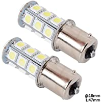 6000K-6500K 260LM 2pc Auto freno lampadina Brake light 12V 1156 18 LED 5050SMD Bianco Car Lamp Bulb Parking light MA129 - Bmw Coda Lampadina
