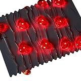 PK Green Luces Rojas de Hadas del Corazón 20 LED de Iluminación Decorativa de Interior con Pilas de 2 m de Cadena