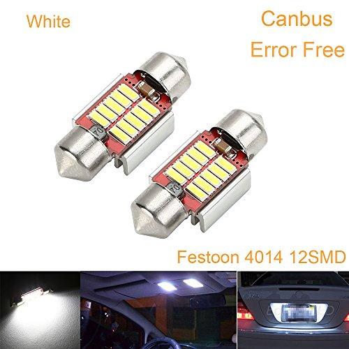CICMOD 2x 800 Lumen CANBUS fehlerlose 12*4014 SMD LED Innenraumbeleuchtung Innenbeleuchtung Kennzeichenbeleuchtung Soffitte Lampe Licht 31mm Xenon-Weiß - Uv-lampe Die Intensität
