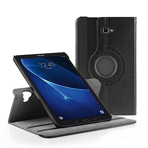 EasyAcc Samsung Galaxy Tab A 10.1 Hülle 360 Grad Drehung Schutzhülle Flip Case Book Cover lederhülle für Samsung Tab A 10.1 2016 T580N/ T585N mit Standfunktion / Auto Sleep - PU Leder, Schwarz, Protector (Schwarz - 360 Grad Drehung)