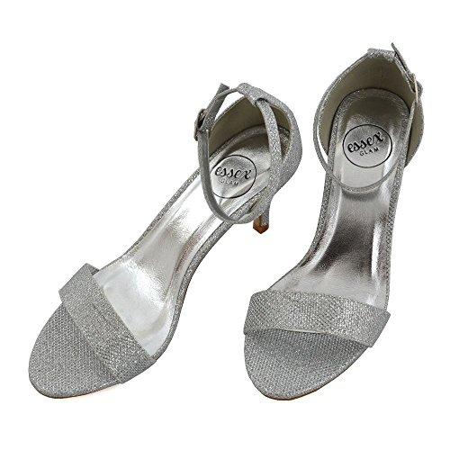 ESSEX GLAM Donna Diamante Cinturino alla caviglia Stiletto Peep Toe Glitter Sandalo Argento Glitter