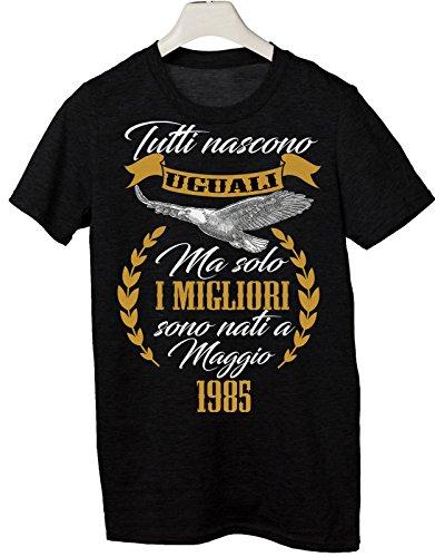 Tshirt tutti nascono uguali ma solo i migliori sono nati a Maggio 1985 - eventi - compleanno - Tutte le taglie by tshirteria Nero