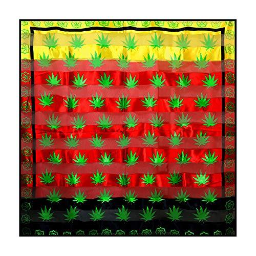 Joji Boutique Schal mit grünem Cannabis/Marihuana/Hanf auf Rot/Gold/Schwarz, groß, leicht, quadratisch, aus Seide/Satin-Feel, 101,6 x 101,6 cm