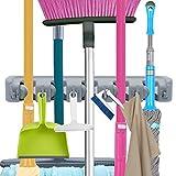 MOP Besen Halter, Gartenwerkzeuge Wand montiert kommerzielleres Organizer Aufbewahrung Rack für Küche Garten und Garage platzsparend, Wäschekorb Büros (5Position mit 6Haken)