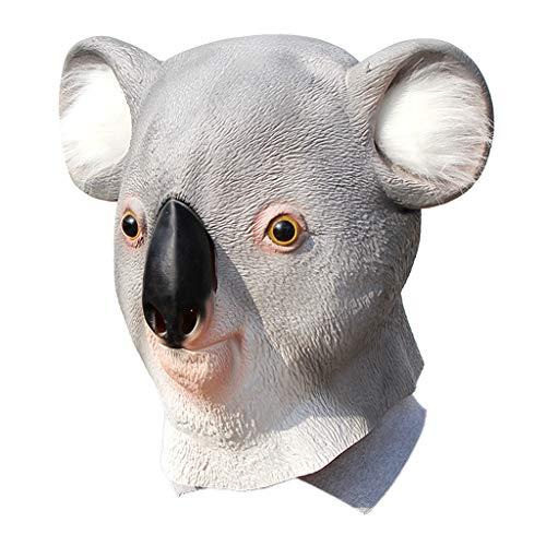 Yeioxiue Neuheit Latex Koalabär Maske Tier Helm Voller Kopf Halloween Party Cosplay Kostüm Requisiten (Koala Kinder Kürbis Kostüm)