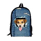Jambalaya- 3D - süße Katze/Hund Muster Tasche Rucksack Jungen mädchen im Rucksack Rucksack - Muster Schultertaschen perfekt für Schule und Reisen (Hund)