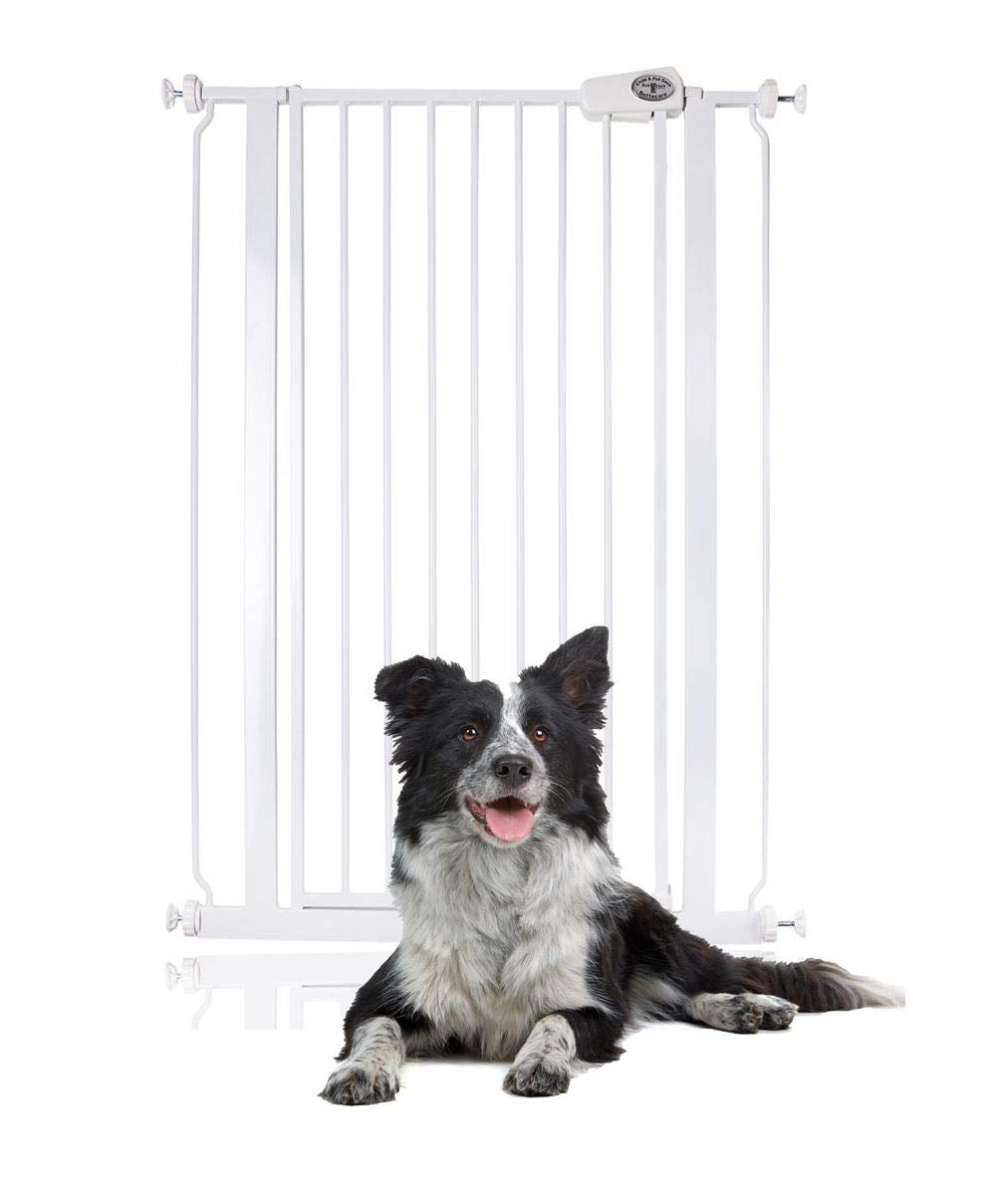 Bettacare Child and Pet Gate Pressure Fit Stair and Pet Gate 75cm - 147.5cm (113.8cm - 121.4cm, White) Bettacare Pressure Fitted White Metal Gate Double Locking Mechanism 2