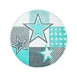 carpet city Kinderteppich Hochwertig mit Sternen-Muster in Pastell-Türkis mit Konturenschnitt, Glanzgarn für Kinderzimmer Größe 120/120 cm Rund