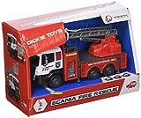 Dickie Toys 203712013 Scania Fire Rescue Feuerwehrauto mit Metallkabine und Freilauf