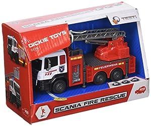 Dickie Toys 203712013Scania Fire Rescue Coche de Bomberos con Cabina de Metal y piñón Libre