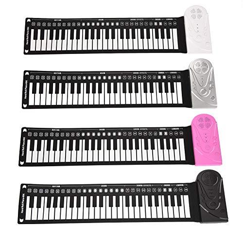 AETOPP Teclado Piano Plegable 49 Teclas, Teclado Piano Niños Aprendizaje 49 Teclas Flexible Soft Digital Midi Roll Up Keyboard Piano (49 Teclas), rosa