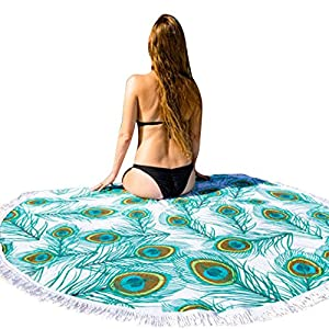 LILIGOD Beach Throw Round Hippie Tucher Tapestry Towel Roundie Mandala Yoga Mat Bohemian Featur Boho Picnic Bath Indian Camping Absorbent Bedding Meditation Indischen Wall Hanging Werfen Saugfähige