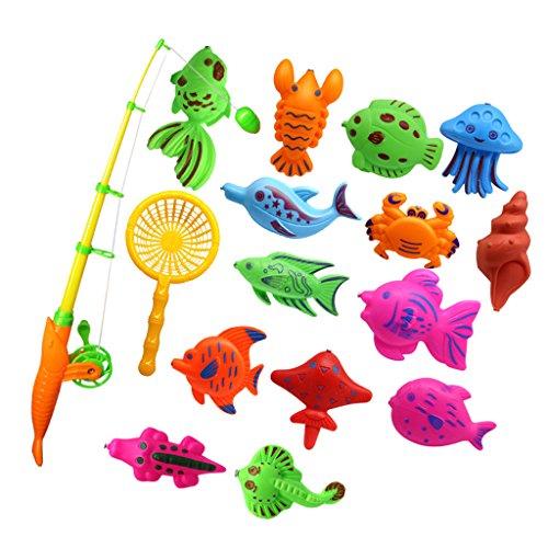 Homyl Kinder Baby Badespaß Spiel - Magnet Fisch Angeln Spielzeug Badespielzeug Wasserspielzeug - 15 Stück