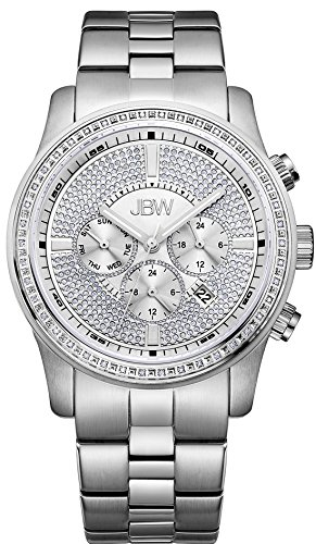 JBW Men's Vanquish Diamond 45MM Steel Bracelet & CASE Quartz Watch J6337C