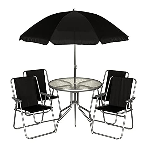 LIVIVO ® Stylish 6 Piece Garden Patio Set with Tempered Glass Round Table, 4 Folding Chairs and Large Parasol – Ideal for Patios and Decking Areas – Looks Great in Any Garden – Quick and Easy to Assemble – Easy Clean with a Damp Cloth