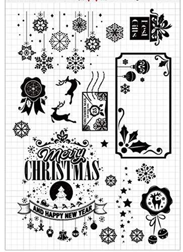 Weihnachts-Silvester Schneeflocken Dekors Kugeln Elch Gummi Klar Stempel Scrapbook Foto Deko Karten machen transparenter Stempel -