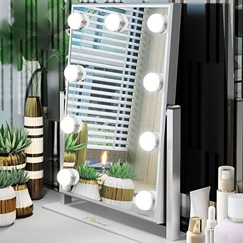 Ovonni Schminkspiegel mit Beleuchtung 9 LED-Lampen Hollywood Kosmetikspiegel Beleuchtet für Wohnzimmer,Kosmetikstudio,Spa und Hotel Weiß