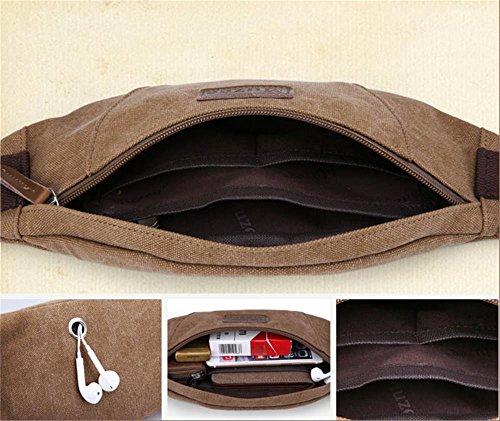 DELLT-Herren-Multifunktionstaschen im Freien Sporttasche Brusttasche tote Fliege Leinentasche Mann Tasche Freizeit Kuriertasche Hellbraun