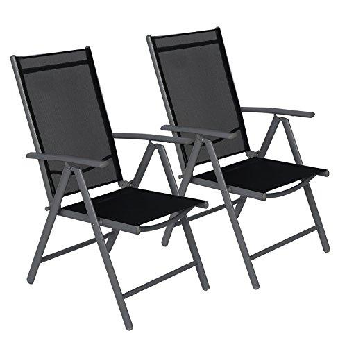 CCLIFE Juego sillas Plegables de Aluminio para jardín, terraza, Patio, Playa,Impermeables y Resistentes al Sol, Color:Dark Gray, Tamaño:2pz-Set