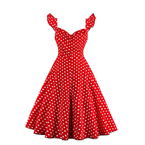 DISSA EM1373 femme Vintage pin-up 50's 60's Robe de Soiré,Bal cocktail Rockabilly Swing Rouge