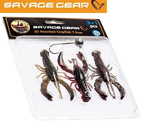 Savage Gear Reaction Crayfish 7,5cm Kit - 3 Gummikrebse + Bleikopf zum Spinnfischen, Gummiköder zum Jiggen & Zocken, Barschköder