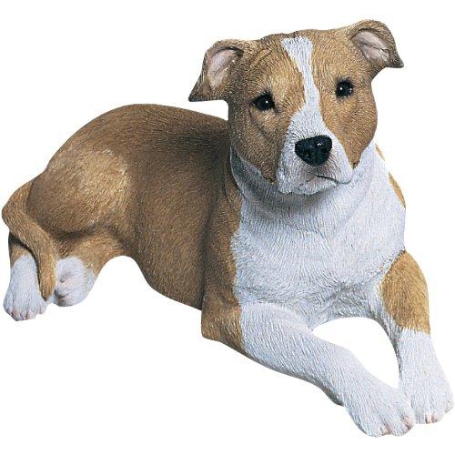 Sandicast Skulptur Bullterrier für Rehkitz/Weißer Krug, mittelgroß Rehbrauner Pit Bull Terrier Mid Size weiß -