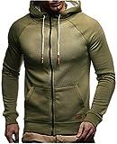 LEIF NELSON Herren Sweatjacke Kapuzenpullover Hoodie Pullover Jacke Sweatjacke Sweatshirt Longsleeve T-Shirt Langarm LN8124; Größe L, Khaki