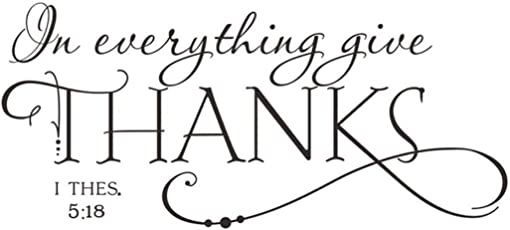 Voberry 1Pc in Everything Give Thanks 1 Thessalonians 5:18 Bible Quotes Wall Stickers