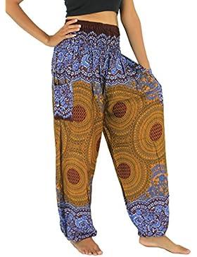 NaLuck Pantalones hippies para mujer, cintura elástica, sueltos, estampado floral y de pavo real