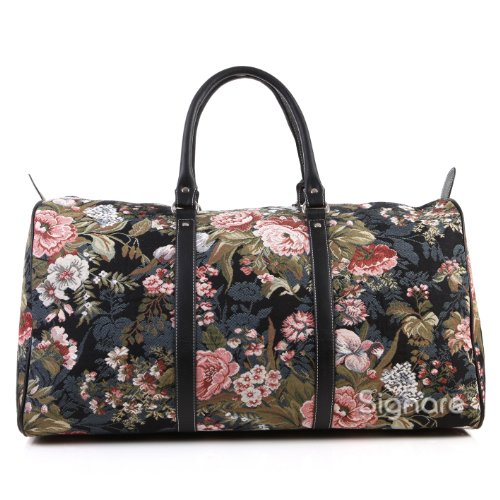Signare grand fourre-tout bagage weekender en toile tapisserie mode femme Pivoine