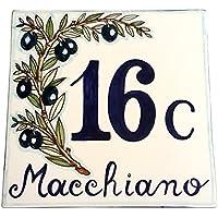 CERAMICHE D'ARTE PARRINI- künstlerische italienische Keramik , bürgerliche Sitte 20x20 Nummer, Olivenbaum Dekoration , handgemalt , made in Italy Toscana