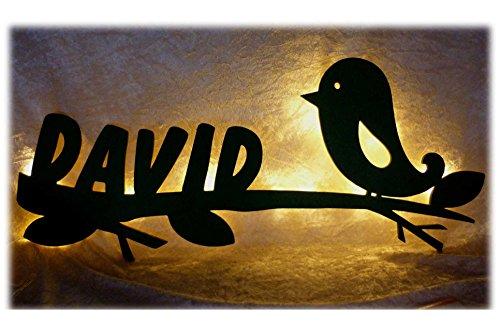 Schlummerlicht24 Led Groß-es Nacht-Licht Lampe Figur Design Birdy Garten Vogel, Deko Geschenk-e mit Name-n zum Geburtstag Taufgeschenk zur Geburt für das Kinder-Zimmer Mädchen Junge-n Grün Licht Nacht Licht