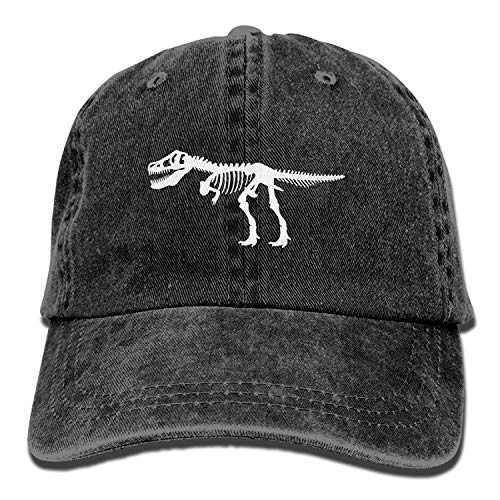 Hoswee Unisex Kappe/Baseballkappe, Men&Women T Rex Dinosaur Skeleton Adjustable Vintage Washed Denim Cotton Dad Hat Baseball Hat Black - Alle 49ers Hut Schwarzen
