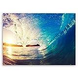 ge Bildet® hochwertiges Leinwandbild Panorama XXL Naturbilder Landschaftsbilder - The Wave - Welle Surfen Wasser Sonnenuntergang blau gelb orange - 100 x 70 cm einteilig 2213 S