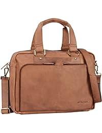 STILORD 'Jon' Vintage Bolso bandolera de piel mujeres hombres grande bolso para portátil 15,6 pulgadas bolso de negocios para universidad trabajo