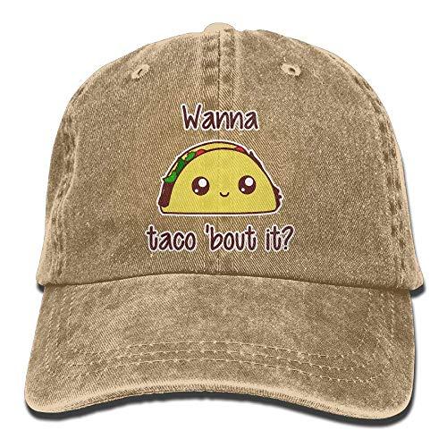 Sireua Unisex Washed Retro Denim Hats Wanna Taco'bout It Truck Driver Hat Humor Adjustable Lightweight Breathable Baseball Cap Snapback Trucker Hat Basecap Snapback Outdoor Baseball Kappe