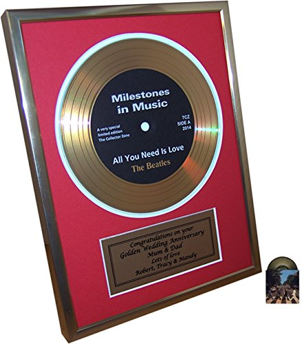 Personalised Framed Gold Record Disc 1st Silver Or Golden Wedding Anniversary Gift And Bonus Beatles Card Red Border Amazoncouk Kitchen