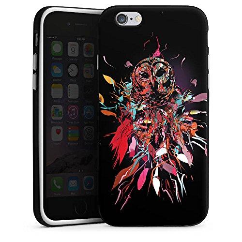 Apple iPhone X Silikon Hülle Case Schutzhülle Eule Kunst Owl Silikon Case schwarz / weiß