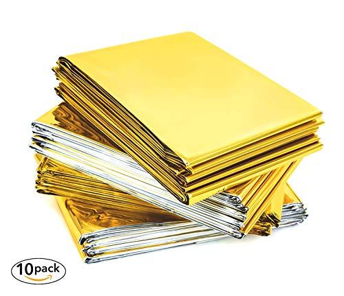 VOYAGO Lot de 10 couvertures de Sauvetage, Couverture de Secours, Couverture chauffante, pour Premiers Secours