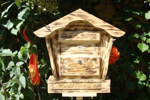Großer Briefkasten, Holzbriefkasten mit Holz - Deko HBK-SD-GEFLAMMT aus Holz gebrannt geflammt schwarz-natur Deko für Naturhaus - Briefkästen