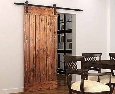 DIYHD Puerta de granero corredera estilo rústico americano puerta de granero corredera de madera para armario puerta granero herraje colgadocon guía rodamientos deslizantes