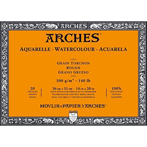 Arches 1795088 Aquarellpapier im Block (36 x 51 cm, 4-seitig geleimt, 300g/m² Grobkorn) 20 Blatt...
