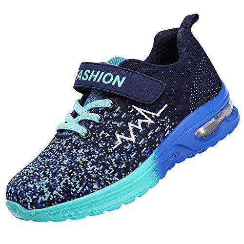 XIANV Sneaker Kinder Schuhe Sportschuhe Air Mesh Laufschuhe Outdoor Fitness Mädchen Turnschuhe Klettverschluss Hallenschuhe für Jungen Kinder (37 EU, Blau)